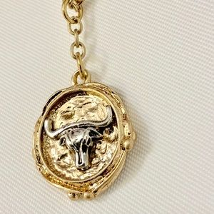 Jewelry - Steer longhorn charm gold chain necklace New